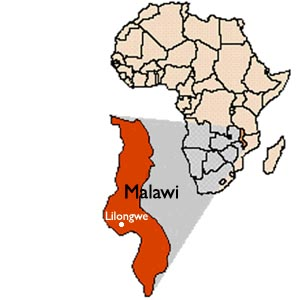 Map of Malawi in Africa